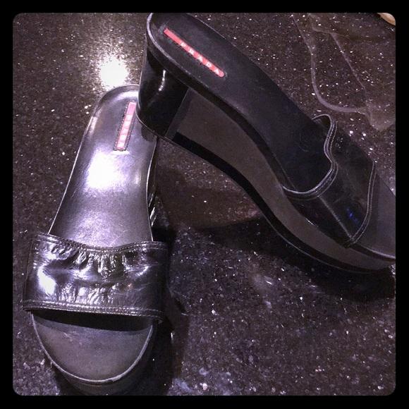 a061c894fd Prada Shoes | Black Lower Wedges With Black Patent Strap | Poshmark